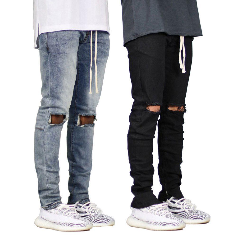 Erkek Biker Jeans Moda Siyah Mavi Delikler Tasarımcı Sıska Hiphop Slim Fit Jean pantolon