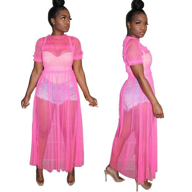 Women See Through Mesh Casual Long Summer Cover Up Beachwear Dress Sexy Perspective Mesh Maxi Party Neon Green Plus Size 2XL 3XL Dress