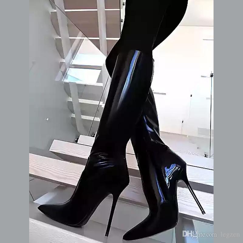 premium selection 4ed7c de460 Legen Super FASHION Women Mid Calf Boots Shinny Pointy Toe Stiletto Boots  Shoes Woman Black Green Blue Shoes For Woman Big Size 4 15 Monkey Boots ...