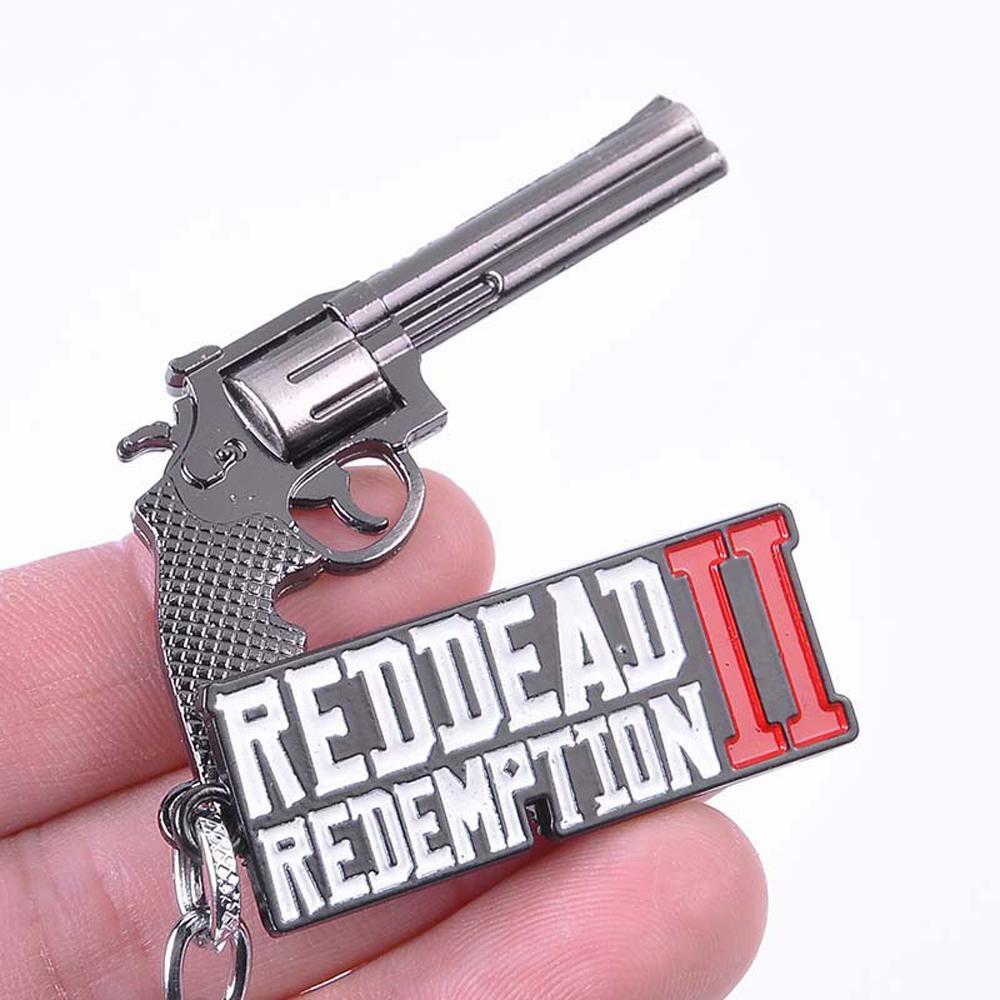 2019 New Game Red Dead 2 Redemption Keychain Revolver Gun Toy Model Metal Key Ring llaveros Car Bag Key Chain Chaveiro Jewelry