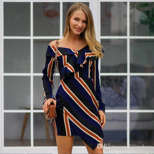 Compre El Vestido A La Moda A Rayas De Primavera De 2019 Colisiona Con Estrellas Del Mismo Estilo En Primavera A 152 Del Lilinzhen Dhgatecom