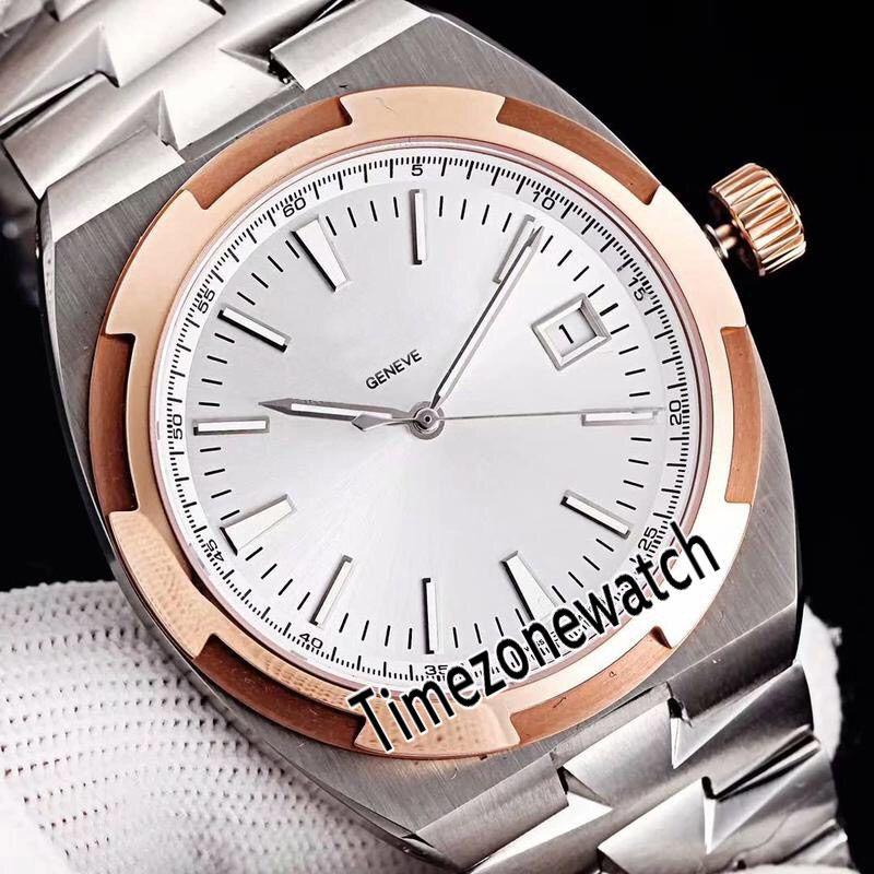 Лучшая редакция New Overseas 4500V / 110A Белый циферблат Cal.5100 Автоматические мужские часы Sapphire Двухцветная рамка из розового золота Стальная полоса Мужские часы