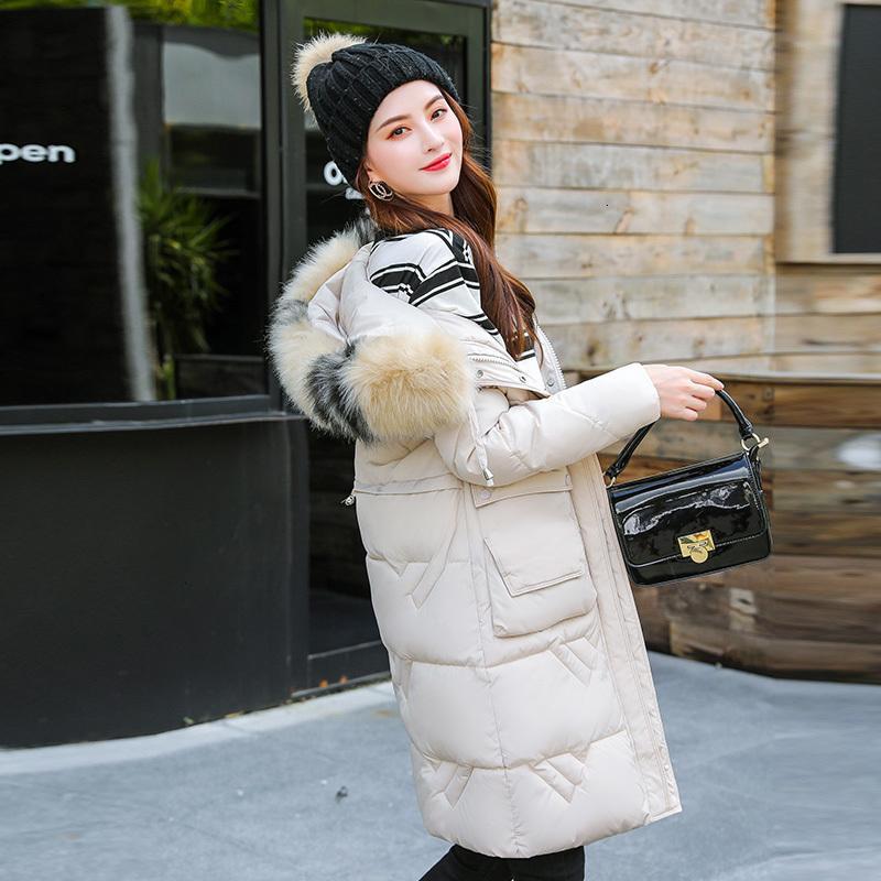 Invierno flojo Mujer de la capa de la mujer de algodón de algodón acolchada chaqueta de invierno 2019 Volver temporada Fácil Fondo largo del espesamiento Traje de gala