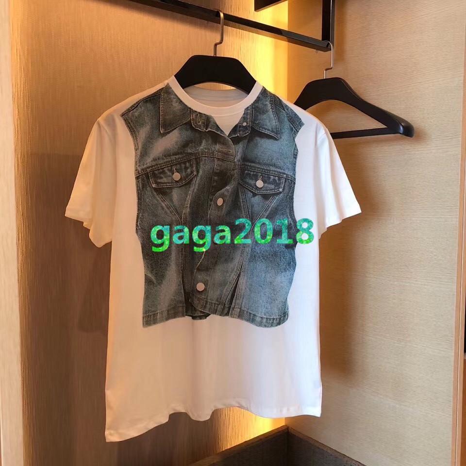 Ddenim üst baskı yaka kısa kollu tişört 2020 moda kadın pist ile yüksek uç kadınlar kız rahat gömlek kazak tişört başında