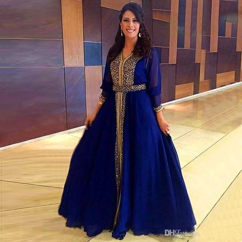 2019 Luxus Sparkly Gold Perlen Muslim Abendkleider Dubai Kaftan Formale Party Marokkanische Königsblau Prom Kleider Bodenlangen Mutter Kleid