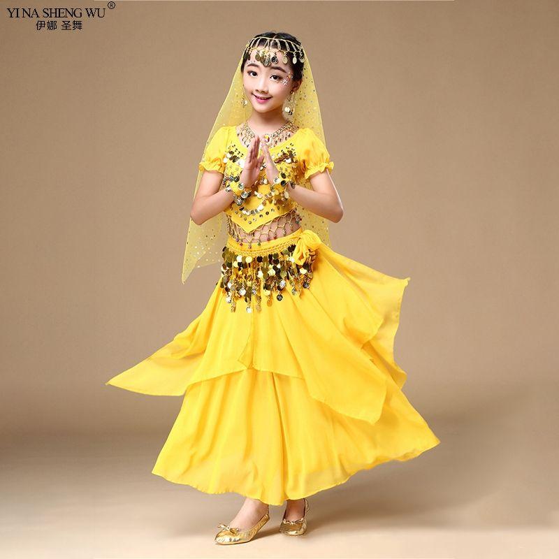 Çocuklar Göbek Dans Kostümleri Seti Çocuklar 2 / 7pcs Oryantal Dans Kızlar Göbek Dansı Hindistan Giyim Bellydance En Etek
