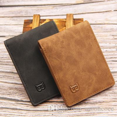 Moda Couro Carteiras Moda Curto Bifold Homens Carteira Luxo Casual Wallet Soild Homens Com Moeda bolsa bolso Masculino Carteiras