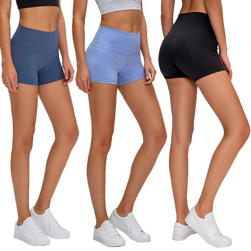 Высокая талия женщины йога шорты сплошной цвет спорт тренажерный зал носить бриджи леггинсы эластичный фитнес леди общий бег шорты