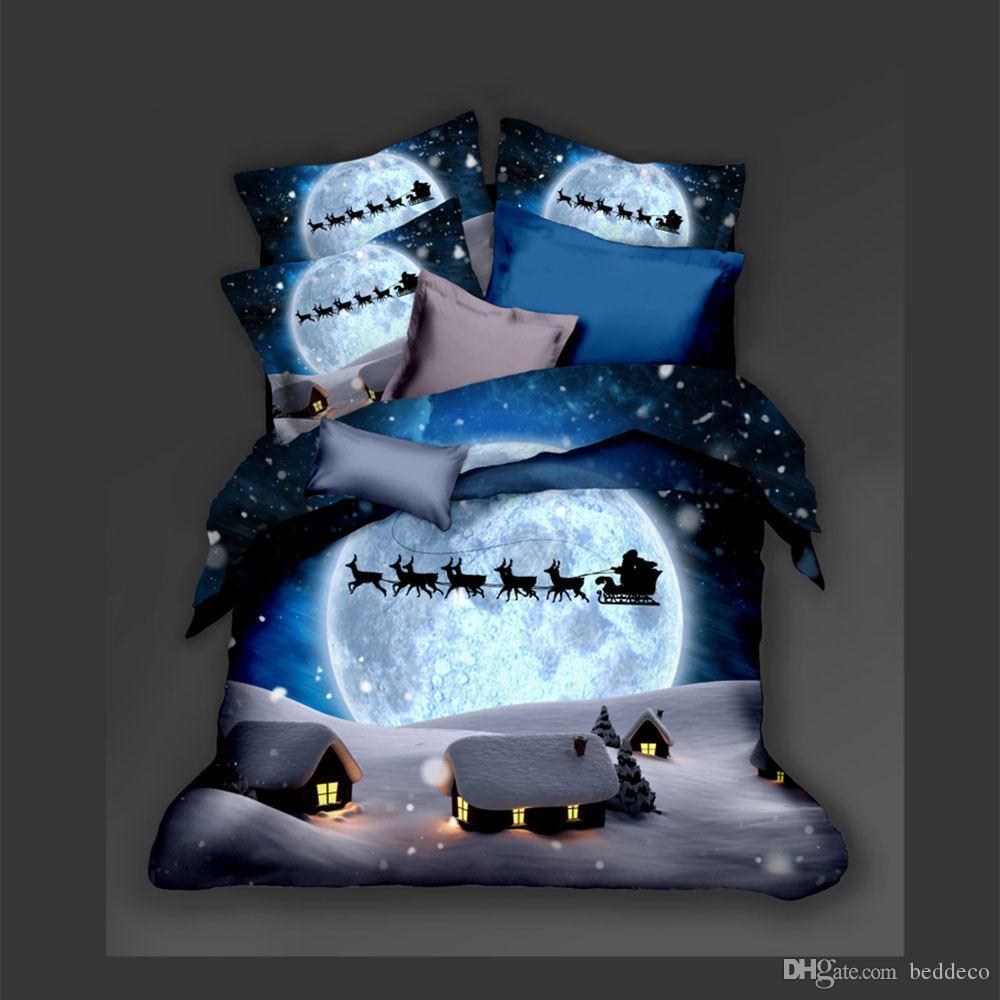 Nochebuena lecho rey de la fantasía del trineo del copo de nieve cubierta de edredón 3D de lujo Reina Individual Doble Twin cama completo de la cubierta con la funda de almohada