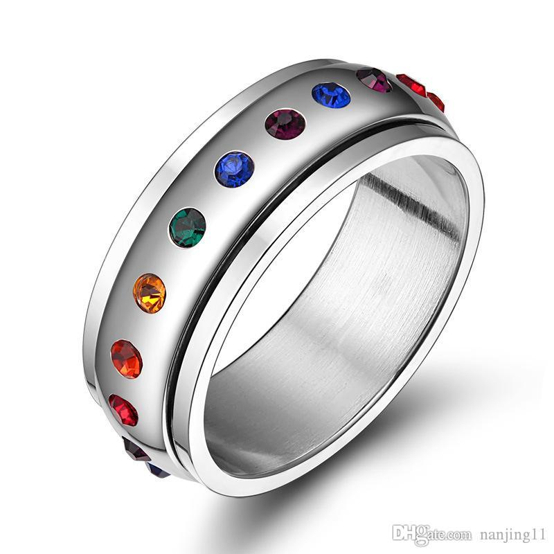 New Trendy Rainbow Crystal Rings For Women And Men Stainless Steel Wedding Rings Female Party Jewelry PR-003