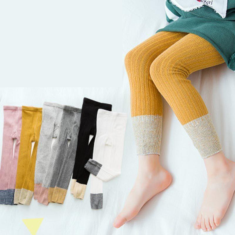 Pantyhose Bottom Pants Baby Cotton Pantyhose confortable Couleur Sous-vêtement à neuf points Pantyhose en coton bicolore Absorption de la sueur 4