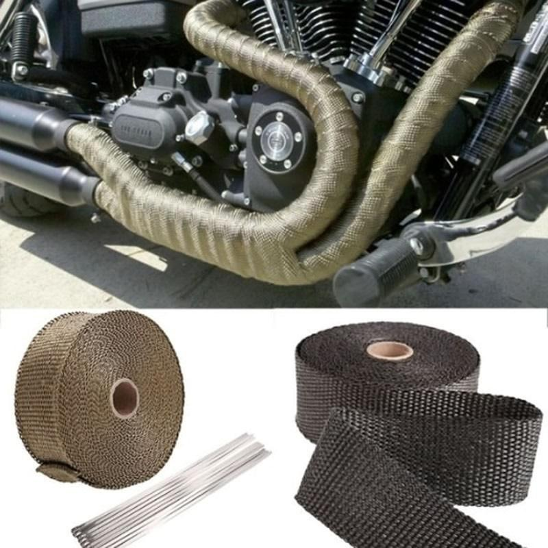 Motorcycles Turbo Manifold Heat Exhaust Wrap Tape Thermal Stainless Ties