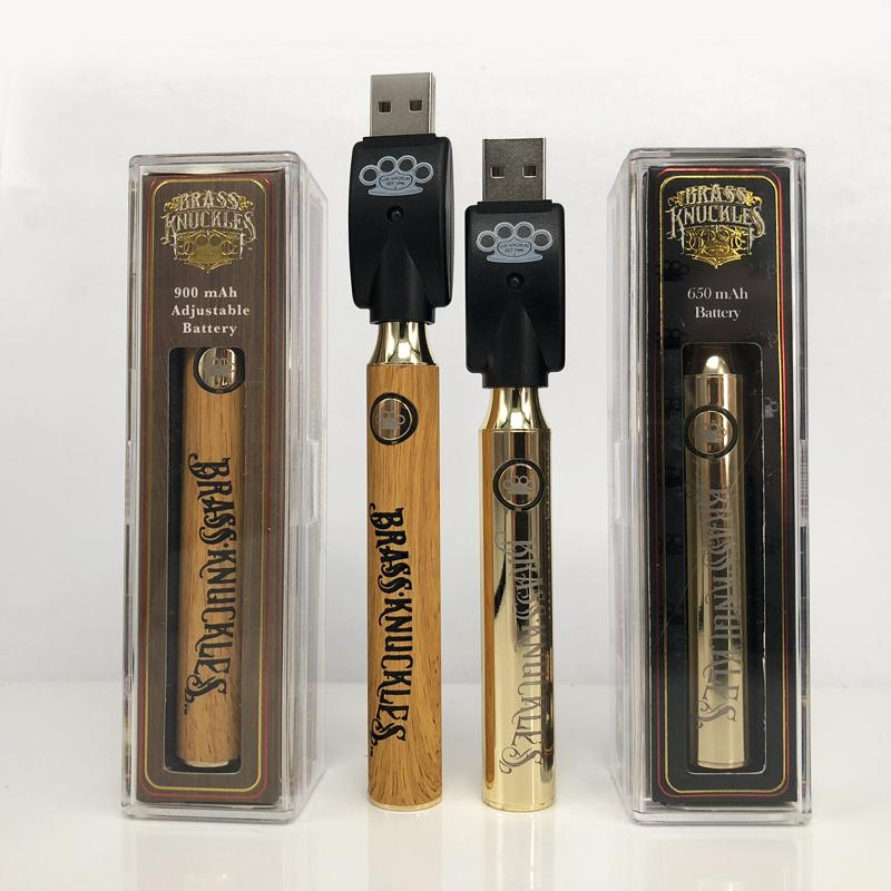For Brass Knuckles Adjustable Battery 650mah Gold 900mah Wood Adjustable Voltage Vape Pen Batteries For Connected Abracadabra Cartridges E Cig
