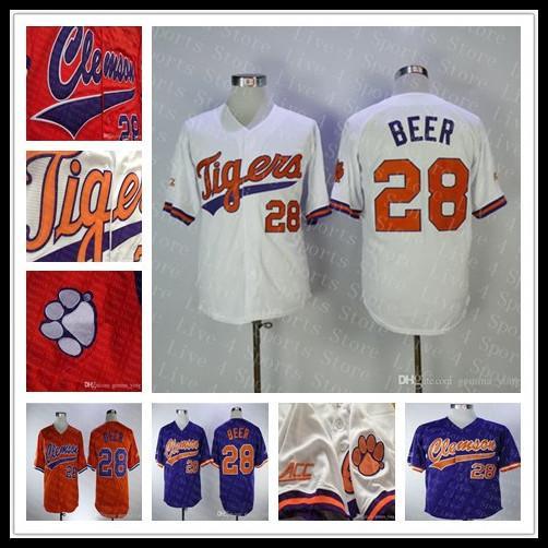 높은 품질 저렴한 Clemson 호랑이 NCAA 대학 야구 세스 맥주 28 홈 도로 멀리 수 놓은 유니폼 도매 모든 스티치 스포츠 셔츠