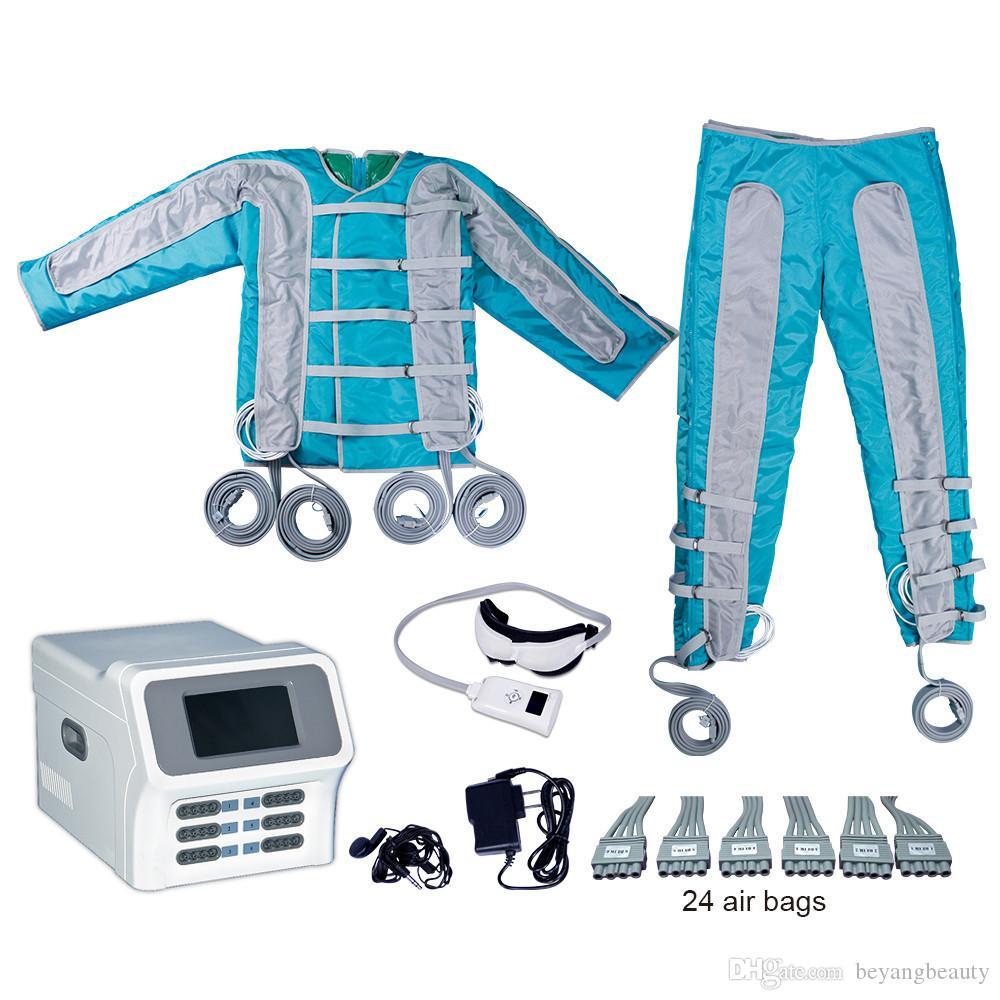 Portable 24 jambe pression d'air Massager de compression d'air Bottes de massage pressothérapie pour utilisation à domicile machine à air comprimé infrarouge