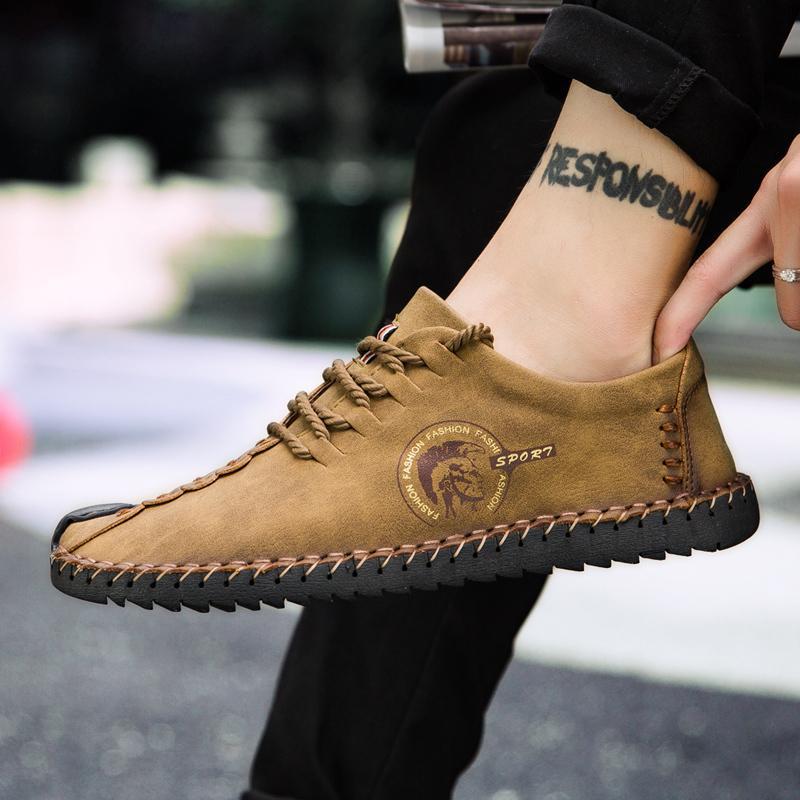 2020 Горячая кожа Handmade зимнее на шнуровке повседневные винтажные мокасины квартиры мужчины большие размеры Homme Chaussure обувь обувь продажа 38-48 BAIEE