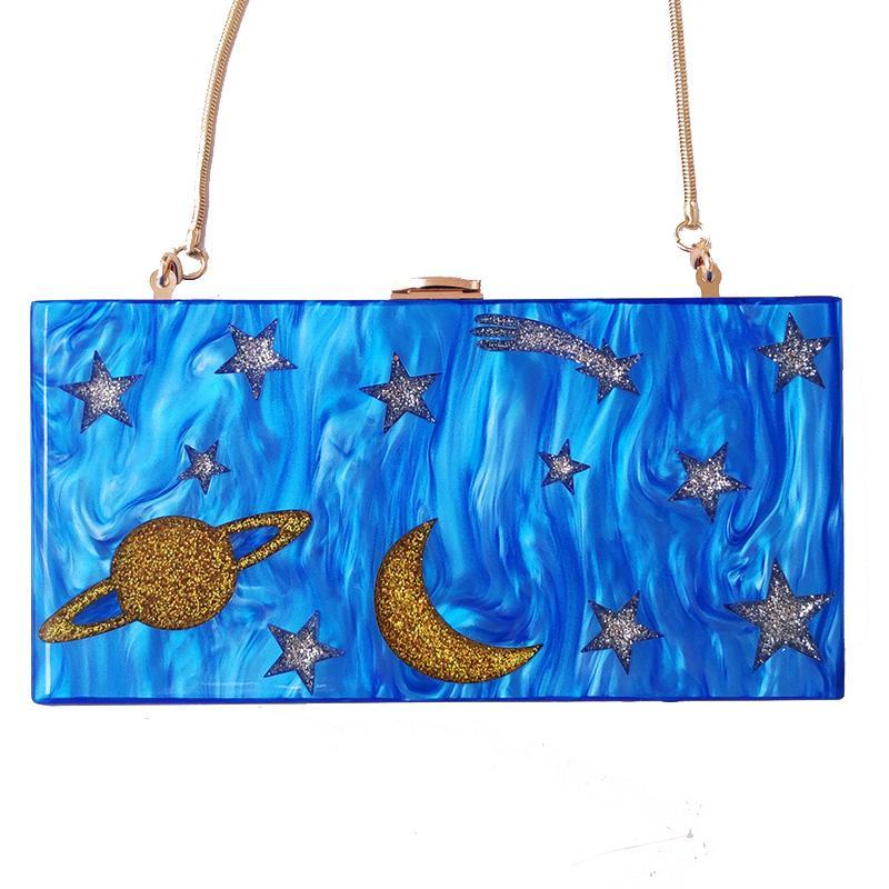 Diseñador de las mujeres de acrílico azul del cielo nocturno del monedero del embrague de la tarde Crossbody bolsos mini bolso Messenger