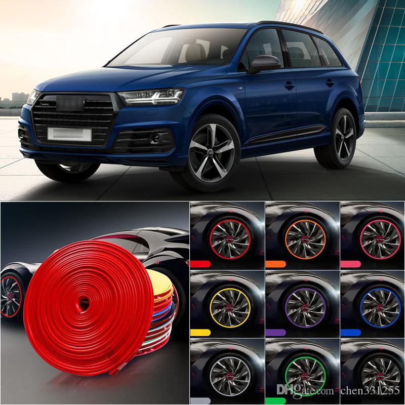 8 m cubo de roda do carro borda aro protetor anel pneu tira guarda de borracha adesivo decalques para audi q7