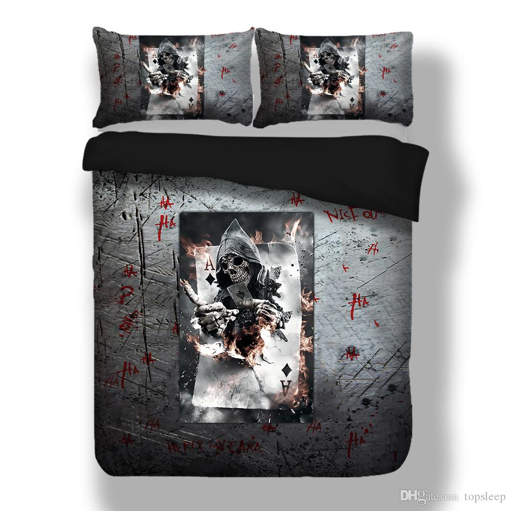 Fashion 3D grey Bedding Set king Size Twin Queen with skull Play cards pattern Home Bedclothes 2/3pcs with pillowcase of Bed Cover Set
