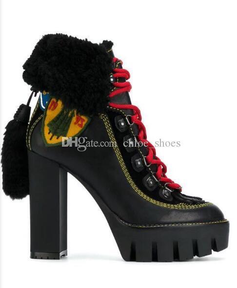 أحذية عالية الجودة الأغنام الفراء منصة عالية أحذية الصحراء كعب عال سيدة قصيرة مارتن الجوارب