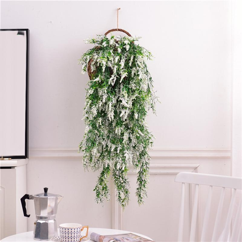 Wall Hanging Artificial Plant Faux Lavender Flowers Home Wedding Office Decor