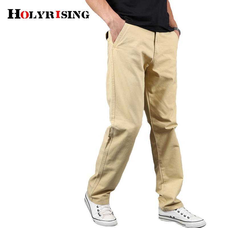 Holyrising pantaloni casuali degli uomini 100% Pantaloni cotone sciolto Streetwear Mens Cargo diritta forma fisica copre 5 colori Dimensione 29-42