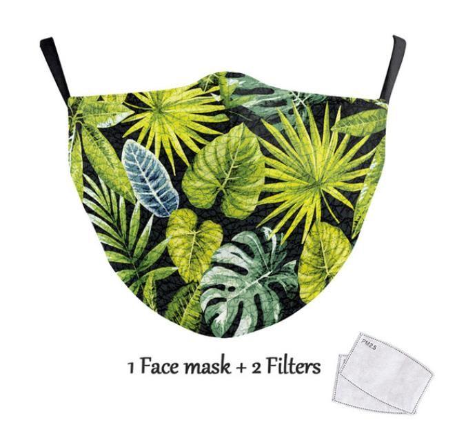 NEW أزياء الزهور طباعة قناع الوجه أقنعة بسيطة تصميم قابل للغسل الكبار قابلة لإعادة الاستخدام PM2.5 تصفية الغبار إثبات الفم الغلاف