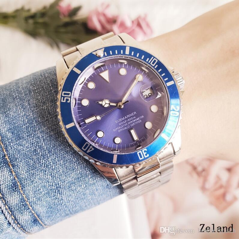 Men Movement 40mm Edelstahl Index Zifferblatt und Schwarze Keramik Automatische Sport Armbanduhr Mens Stahlband Armbanduhren