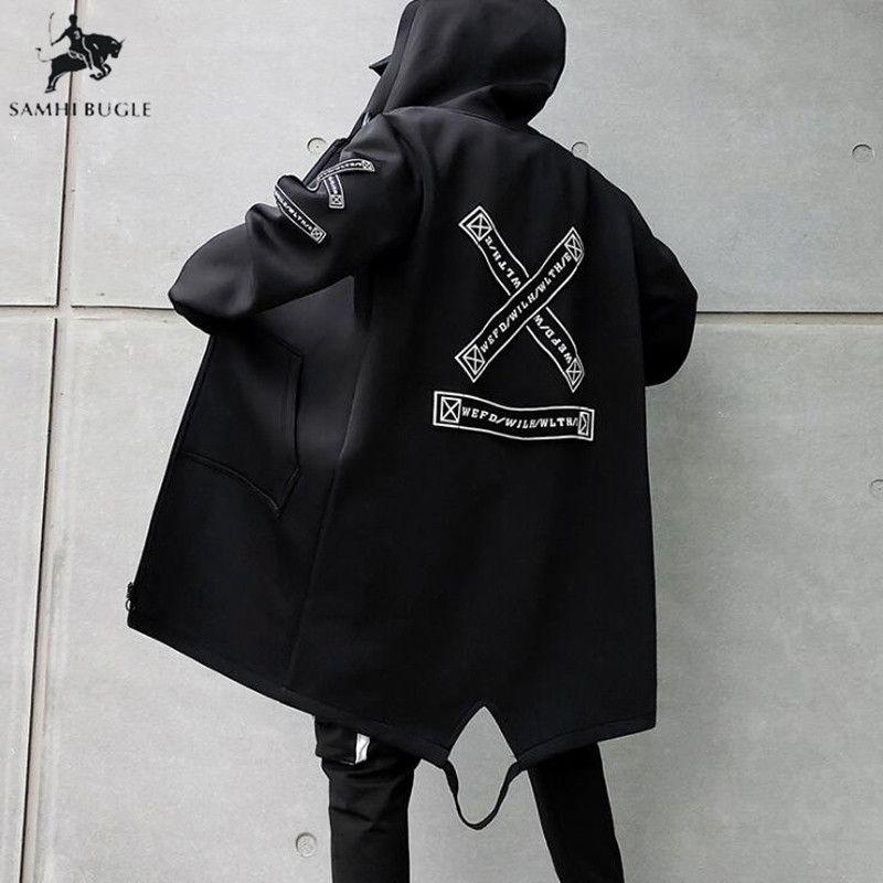 Trenchcoat Herren Print Fashion 2019 Frühling Harajuku Windbreaker Overcoat Herren Casual Outwear Hip Hop Streetwear Mäntel