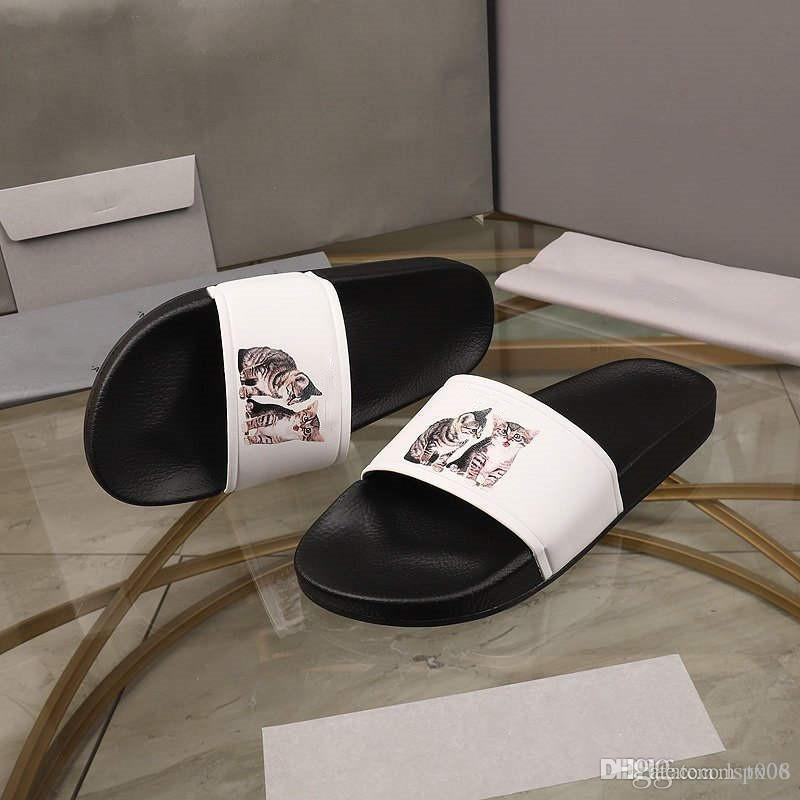 Piscina Producto deslizable y sandalias hechas en Italia Slide-5D en las sandalias de piel de cordero Sinfónica MUJERES señora de los hombres Negro impresión de la historieta CAT blanca de la pizca caja-