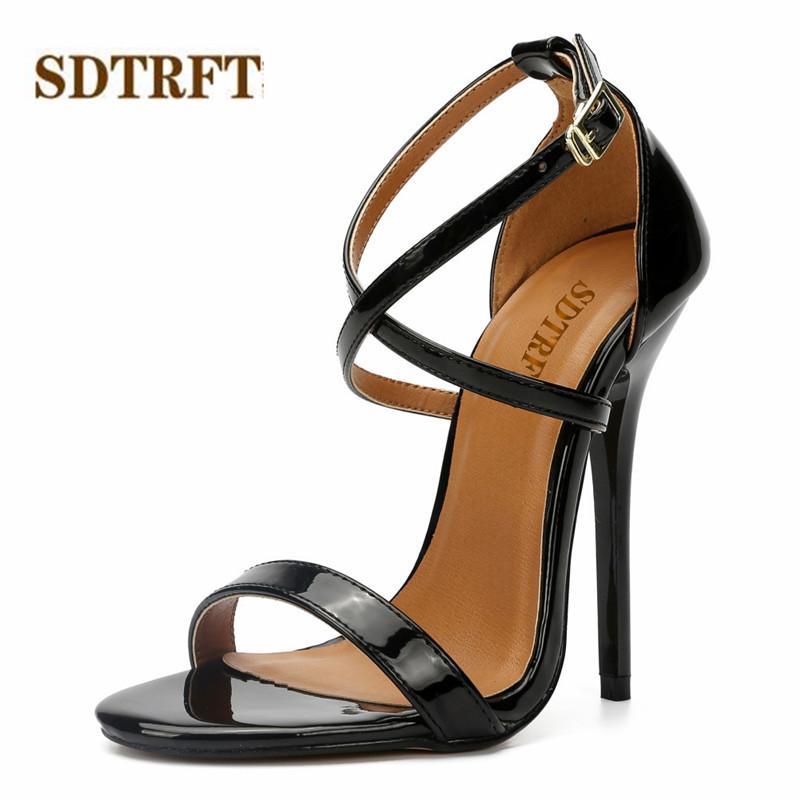 SDTRFT Sommer sexy Stilett-Partei-Sandelholz-14cm dünne hohe Absätze Mujer Crossdress Schuhe Frau Knöchelriemen SM Pumpen sapato feminino