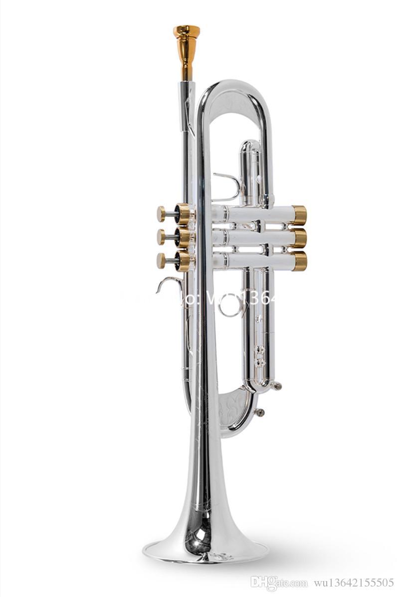 Vaka Ağızlık Ücretsiz Kargo ile Profesyonel Güzel LT197GS-77 Trompet B Düz gümüş kaplama Yüksek Kaliteli müzik aleti