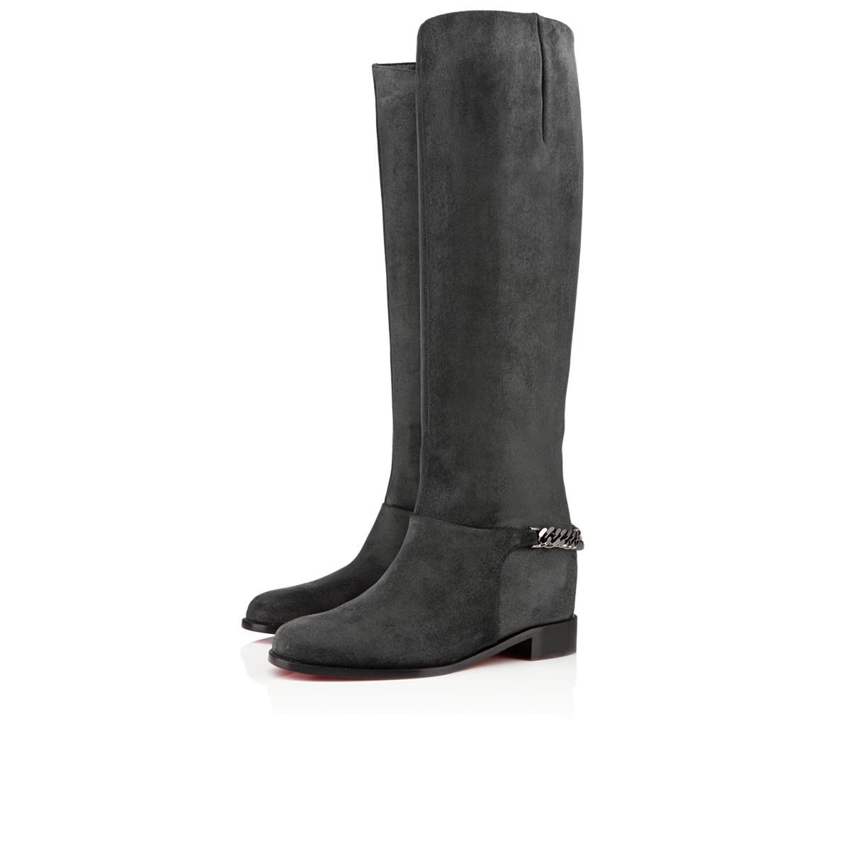 Luxury Designed Cate Boot For Women,Ladies Red Bottom Boots Chains Platform Heel Women Winter Shoes Smooth Calf Leather Knee-high Tall Boots