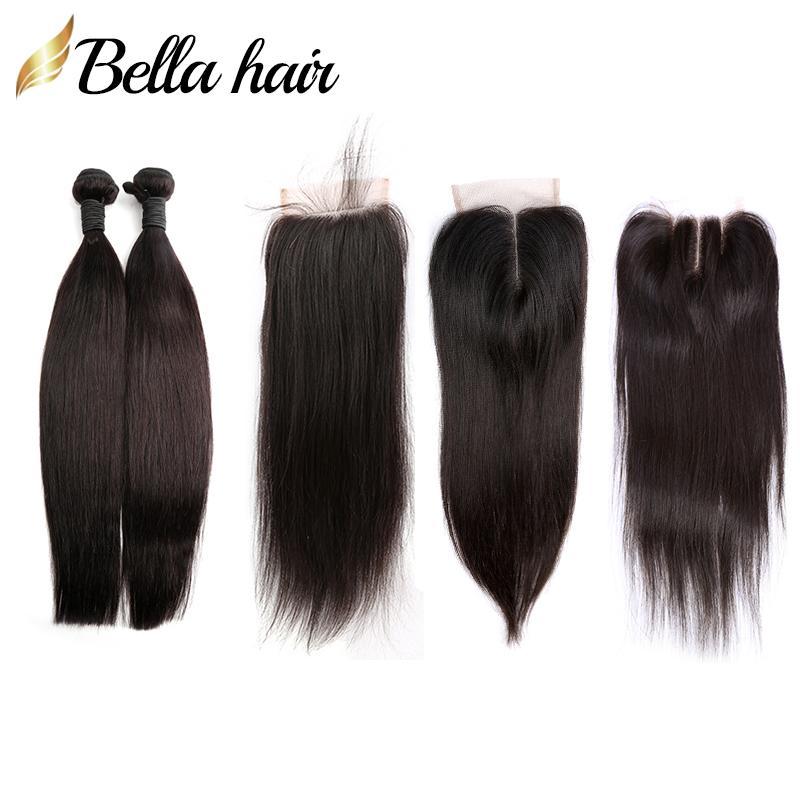 Liso de cabelo virgem peruano em linha reta com fecho de renda 4x4 parte livre parte do meio 3 parte superior fechamento 3 pcs pacotes de cabelo extensões bella cabelo