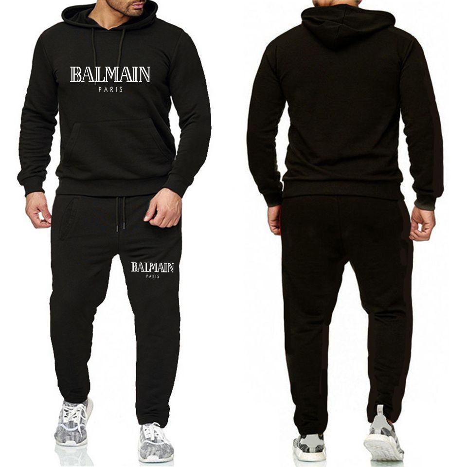 Giacca Balmain Tuta per Men 2 pezzi set nuovo modo sportivo Mens tuta con cappuccio di autunno della molla dei vestiti hoodies + Pants