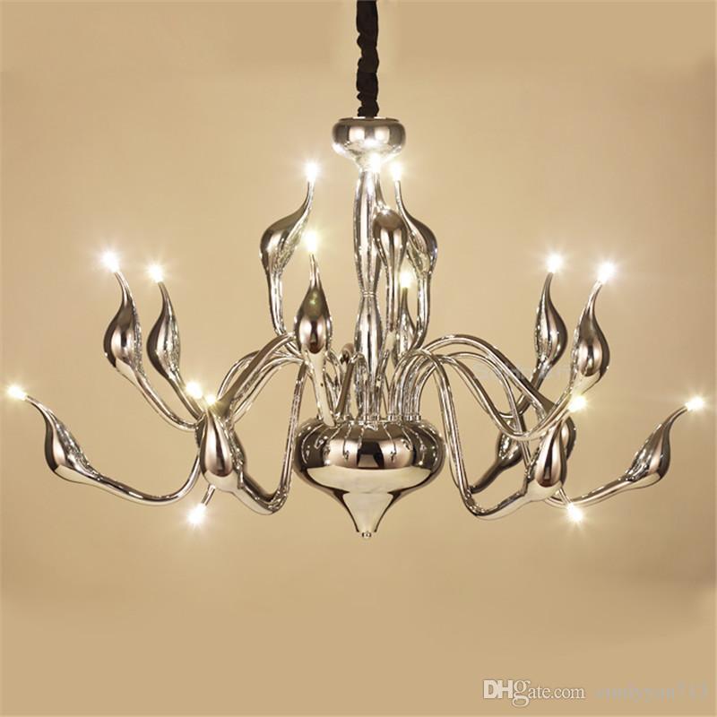 Europea LED G4 Lampadari Candela Swan Hanging Sospensione Black Gold per la camera da letto Living Decoration Modern Home PA0408 luce