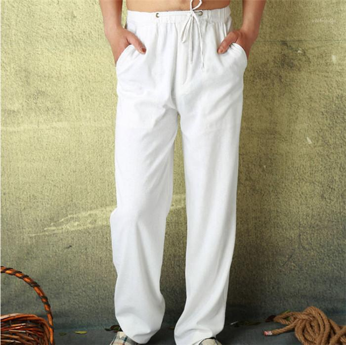 Pamuk Keten Pantolon Katı Renk Tasarımcı Casual Ana Pantolon Serbest Lace Up Homme Pantolon Erkek İlkbahar