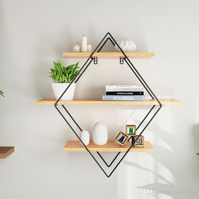 2019 Rhombus Wrought Iron Wall Storage Shelves Bookshelf Storage Holder  Book Rack Modern Bedroom Office Bathroom Hanging Rack Home Decor From ...
