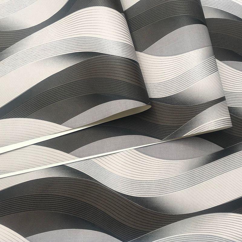 블랙 그레이 화이트 금속 질감 3D 웨이브 벽지 비닐 품질 현대 럭셔리 벽 종이 롤