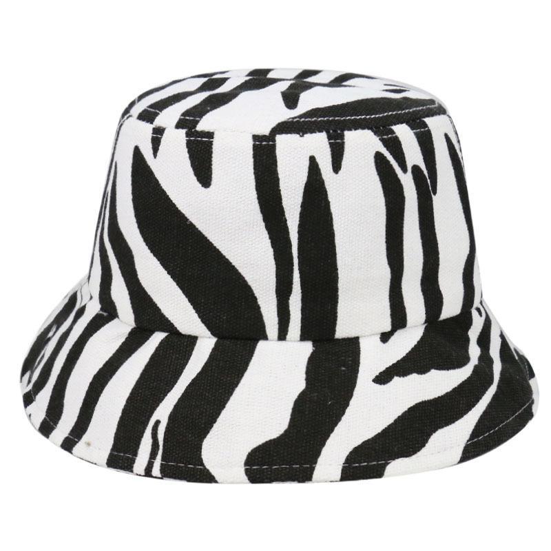 Cute 2020 New Black And White Striped Big Brim Foldable Fisherman Sun Hat Unisex Outdoor Bucket Cap Hats For Women Bonnet