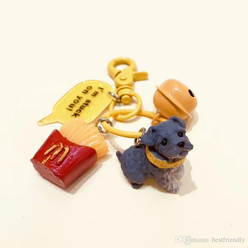 LRW Creative Car Key Chain Ring Cute Puppy Key Chain Handbag Decorations
