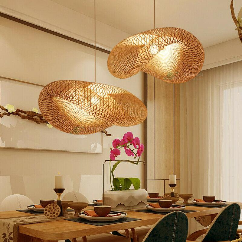 Asian Handmade Bamboo Weave Pendant Lighting Rattan Dumplin Forma Lâmpada de suspensão para o café jantar roon