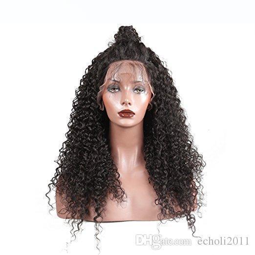 250% haute densité de dentelle avant Cheveux pre plumé 360 frontale perruque de dentelle profonde bouclés pleine perruques de cheveux humains pour les femmes noires