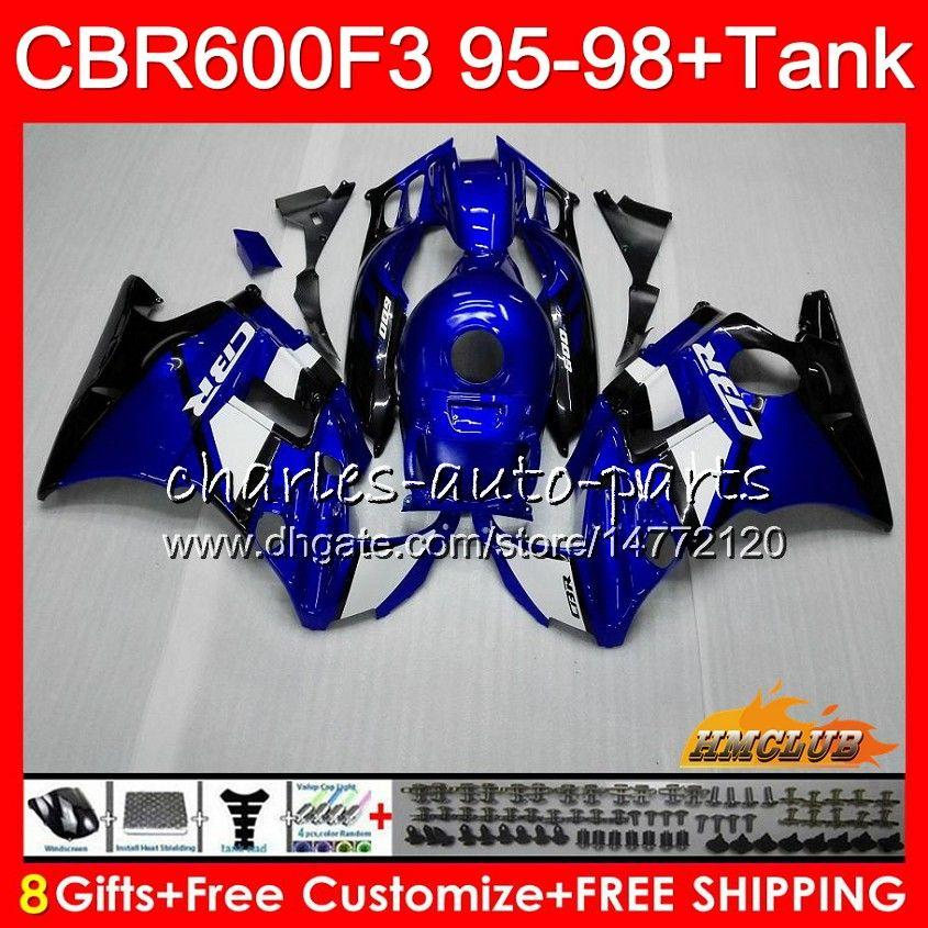 Body + réservoir pour HONDA CBR 600F3 600CC CBR600 usine F3 bleu 95 96 97 98 41HC.8 CBR 600 FS F3 CBR600FS CBR600F3 1995 1996 1997 1998 Carénage