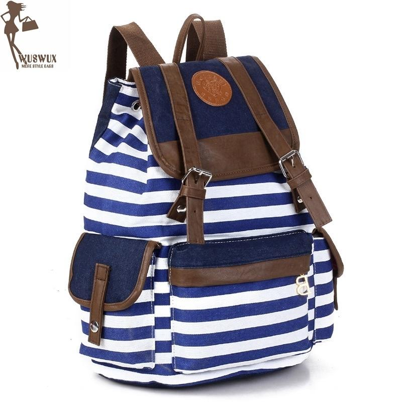 Women Backpack New Fashion Stripe Canvas Backpacks Preppy Style Large Capacity Casual Travel Backpack For Ladies Good Quality Y19052202