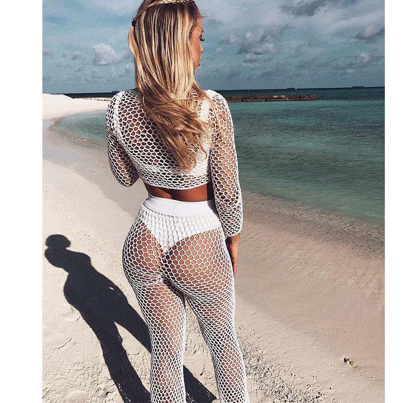 Tuta da donna Muxu estate spiaggia sexy maglia trasparente donna vestiti casual bianco due pezzi set da donna vestito top e pantaloni