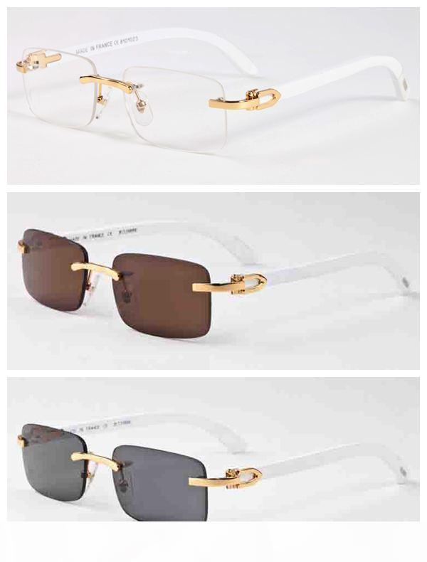 2020 neue Art und Weise Bambusholz Randlos-Sonnenbrille-Männer White Buffalo Horn Glas-Frauen-Männer-Sport-Sonnenbrille mit Kasten-Kasten Lunettes