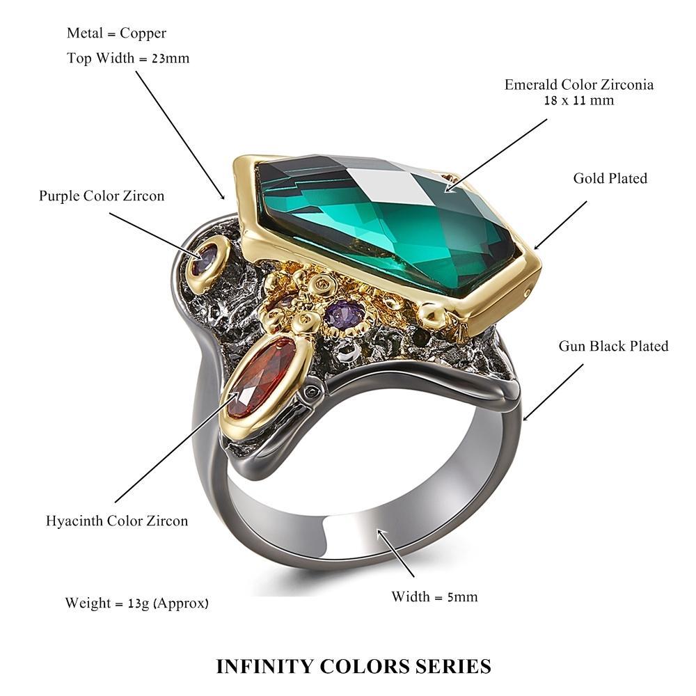 Mode-grüner Kristall Ring Hübscher Gewehr-Schwarz-Schmuck bestes Geschenk für Mom Kupfer Schmuck Ringe für Frau