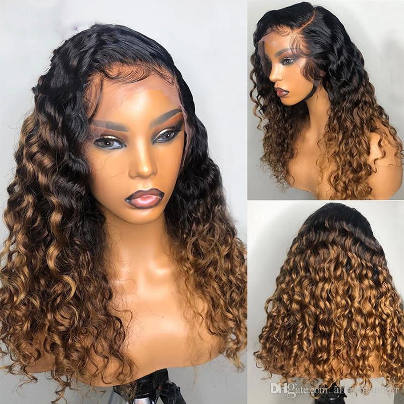 Paff ombre honig blonde lockige menschliche haarperücke brasilianer remy vorplucked 13x4 spitze frontperücke glueleless babyhaare für frauen