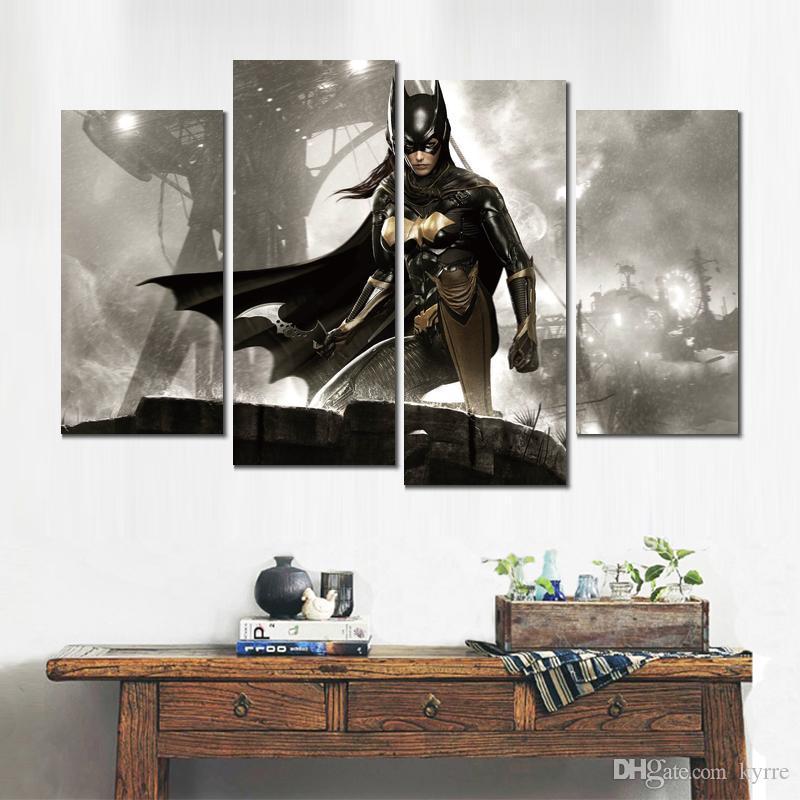 Affiche d'art impression sur toile batman arkham chevalier batgirl 4 set peintures murales pour la décoration